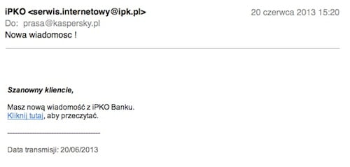 Fałszywy e-mail wysyłany do klientów banku PKO BP