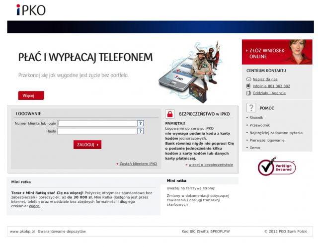 Fałszywa strona serwisu ipko.pl