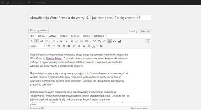 wordpress-pisanie-bezrosproszone